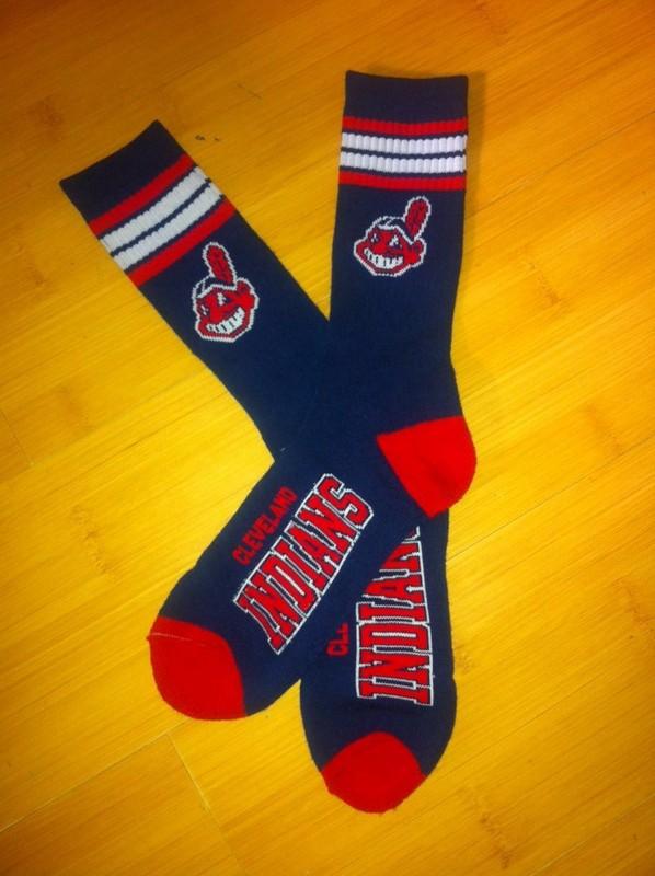 Indians Team Logo Navy Blue MLB Socks
