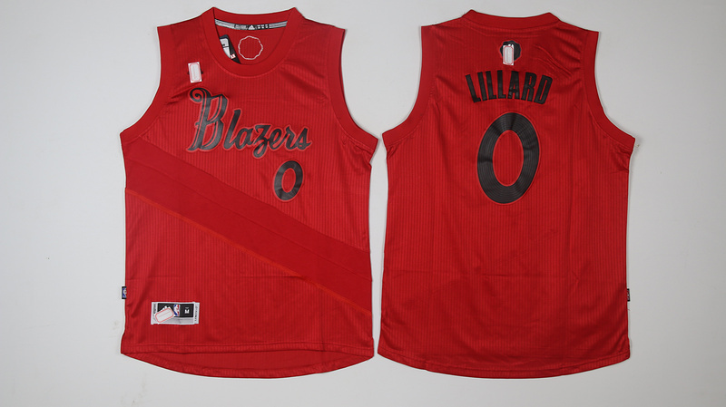 Blazers 0 Damian Lillard Red 2016 Christmas Day Swingman Jersey