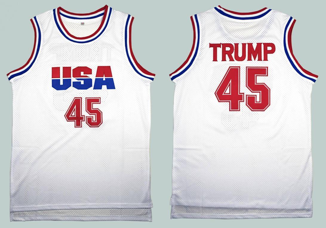 USA 45 Donald Trump White 2016 Commemorative Edition Basketball Jersey