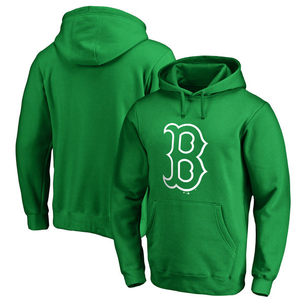 Men's Boston Red Sox Fanatics Branded Kelly Green St. Patrick's Day White Logo Pullover Hoodie
