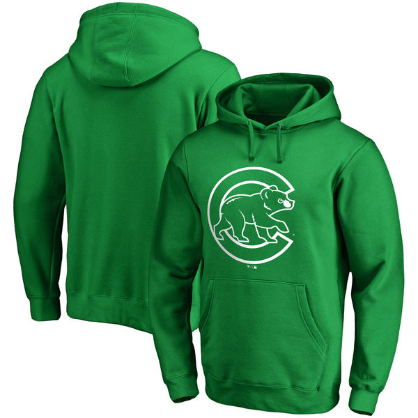 Men's Chicago Cubs Fanatics Branded Green St. Patrick's Day White Logo Pullover Hoodie