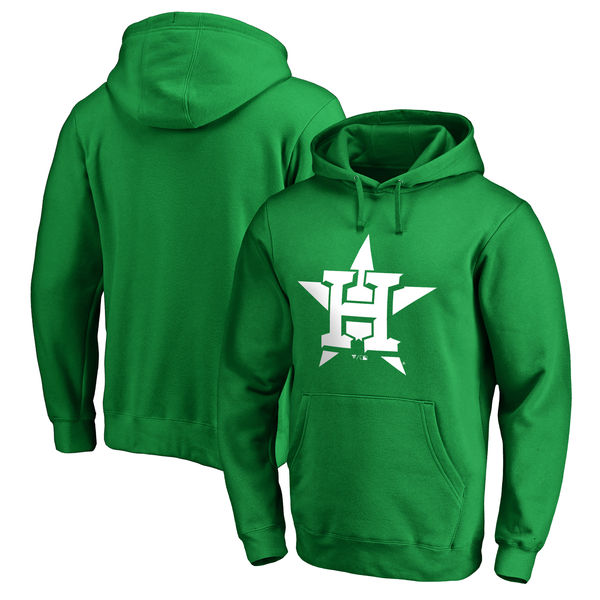 Men's Houston Astros Fanatics Branded Kelly Green St. Patrick's Day White Logo Pullover Hoodie