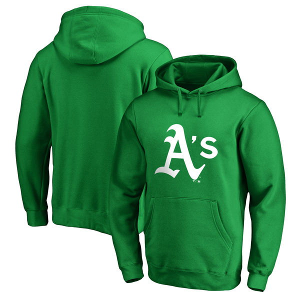 Men's Oakland Athletics Fanatics Branded Kelly Green St. Patrick's Day White Logo Pullover Hoodie