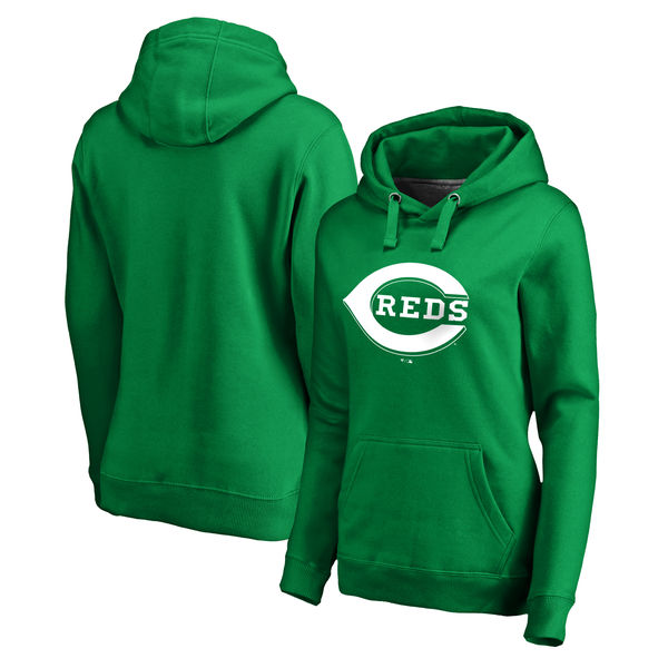 Women's Cincinnati Reds Fanatics Branded Kelly Green St. Patrick's Day White Logo Pullover Hoodie