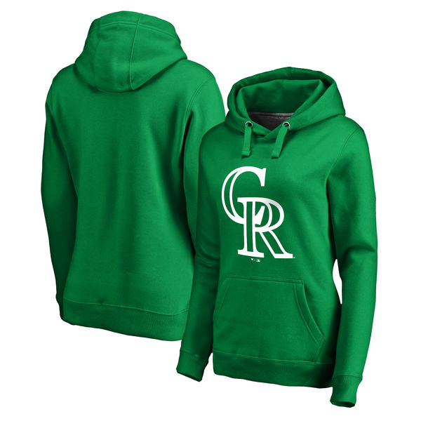 Women's Colorado Rockies Fanatics Branded Kelly Green St. Patrick's Day White Logo Pullover Hoodie