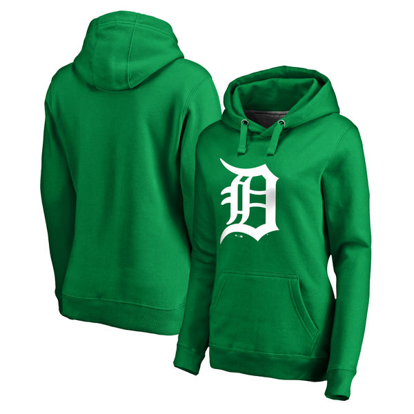 Women's Detroit Tigers Fanatics Branded Kelly Green St. Patrick's Day White Logo Pullover Hoodie
