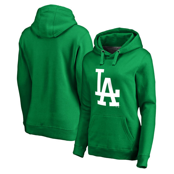 Women's Los Angeles Dodgers Fanatics Branded Kelly Green St. Patrick's Day White Logo Pullover Hoodie