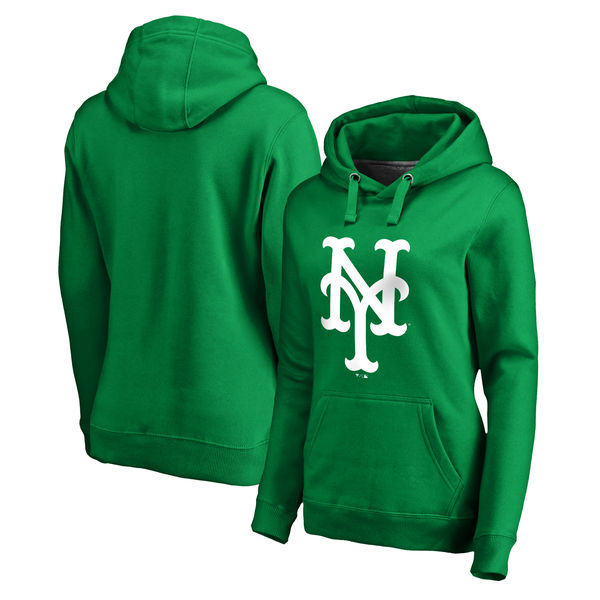 Women's New York Mets Fanatics Branded Kelly Green St. Patrick's Day White Logo Pullover Hoodie