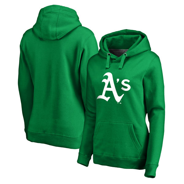 Women's Oakland Athletics Fanatics Branded Kelly Green St. Patrick's Day White Logo Pullover Hoodie