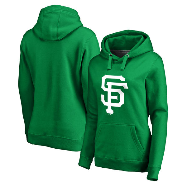 Women's San Francisco Giants Fanatics Branded Kelly Green St. Patrick's Day White Logo Pullover Hoodie