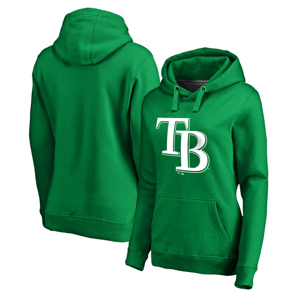 Women's Tampa Bay Rays Fanatics Branded Kelly Green St. Patrick's Day White Logo Pullover Hoodie