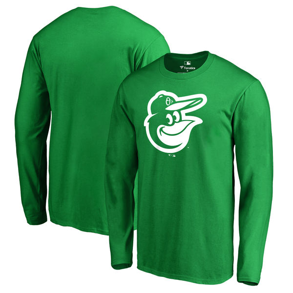 Men's Baltimore Orioles Fanatics Branded Kelly Green St. Patrick's Day White Logo Long Sleeve T-Shirt