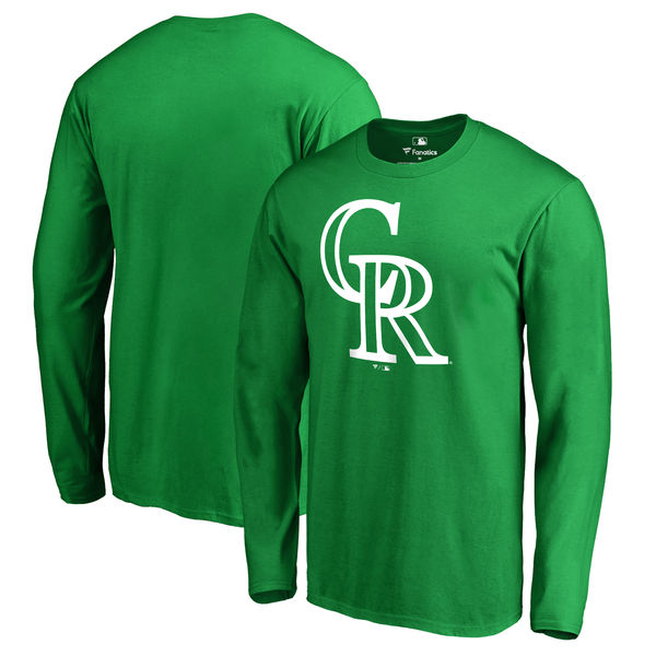 Men's Colorado Rockies Fanatics Branded Kelly Green St. Patrick's Day White Logo Long Sleeve T-Shirt
