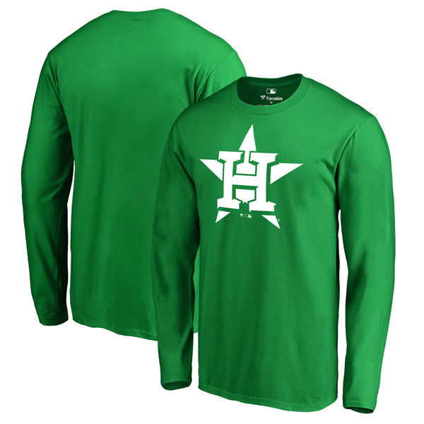 Men's Houston Astros Fanatics Branded Kelly Green St. Patrick's Day White Logo Long Sleeve T-Shirt