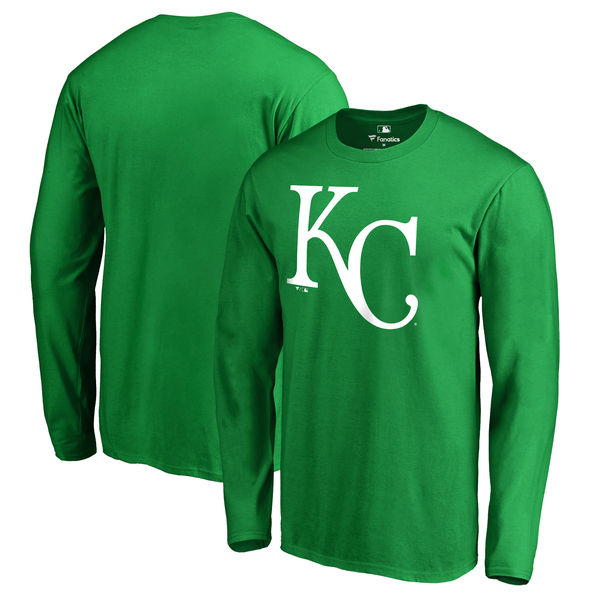 Men's Kansas City Royals Fanatics Branded Kelly Green St. Patrick's Day White Logo Long Sleeve T-Shirt