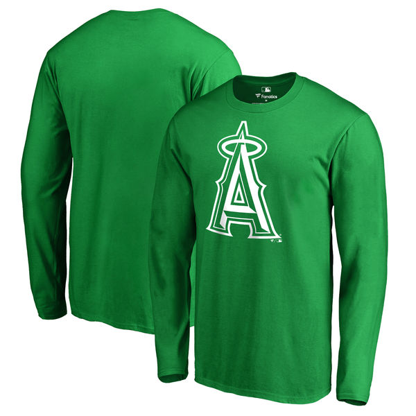 Men's Los Angeles Angels of Anaheim Fanatics Branded Kelly Green St. Patrick's Day White Logo Long Sleeve T-Shirt