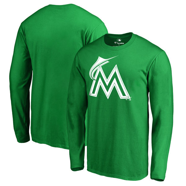 Men's Miami Marlins Fanatics Branded Kelly Green St. Patrick's Day White Logo Long Sleeve T-Shirt