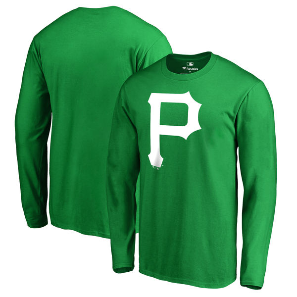 Men's Pittsburgh Pirates Fanatics Branded Kelly Green St. Patrick's Day White Logo Long Sleeve T-Shirt