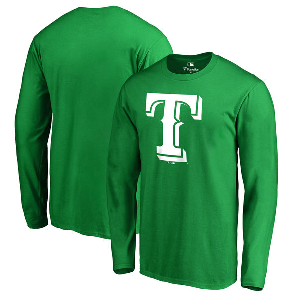 Men's Texas Rangers Fanatics Branded Kelly Green St. Patrick's Day White Logo Long Sleeve T-Shirt
