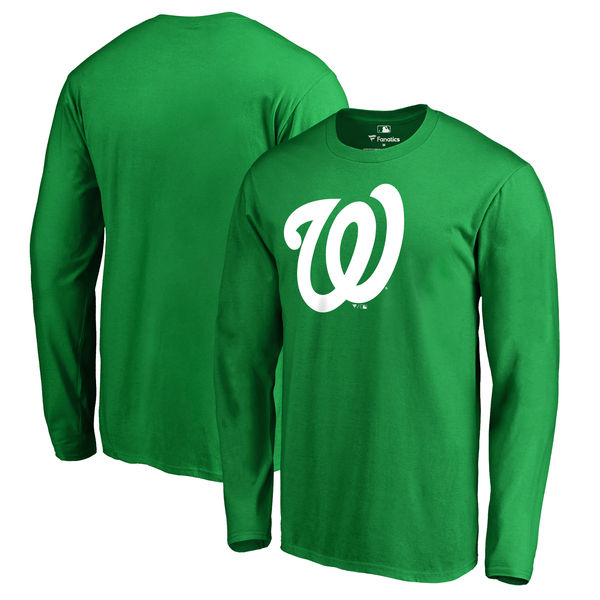 Men's Washington Nationals Fanatics Branded Kelly Green St. Patrick's Day White Logo Long Sleeve T-Shirt