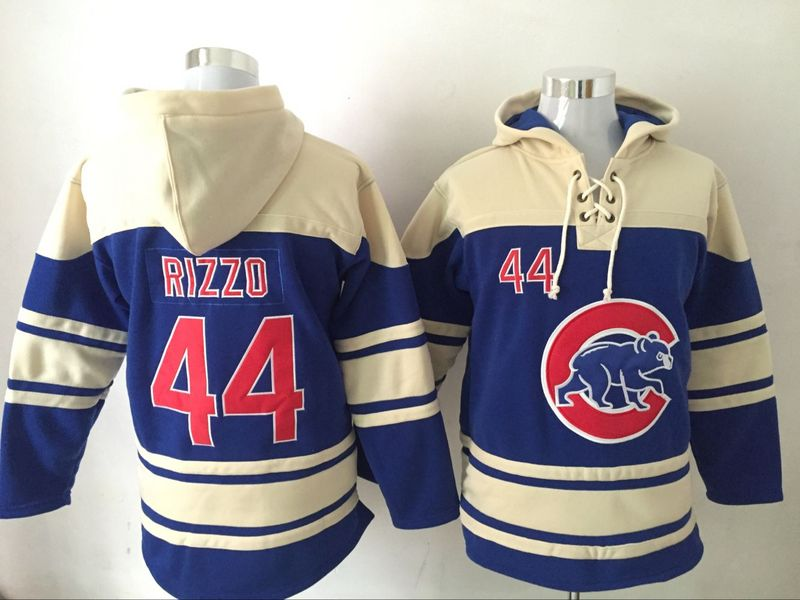 Cubs 44 Anthony Rizzo Blue All Stitched Hooded Sweatshirt