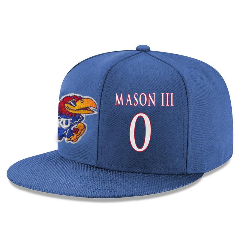 Kansas Jayhawks 0 Frank Mason III Blue Adjustable Hat