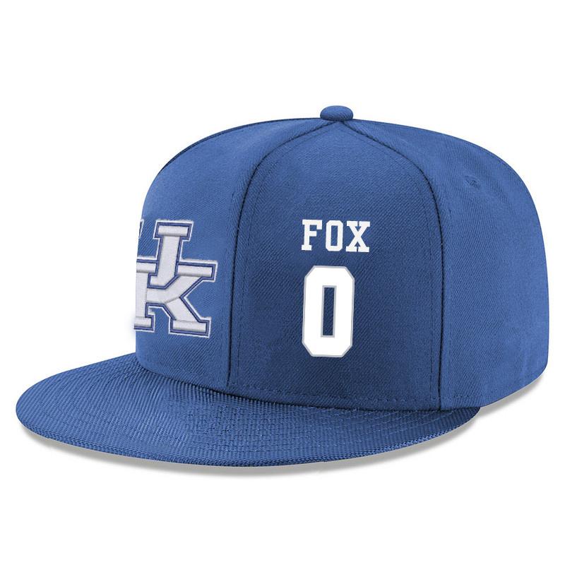 Kentucky Wildcats 0 De'Aaron Fox Blue Adjustable Hat