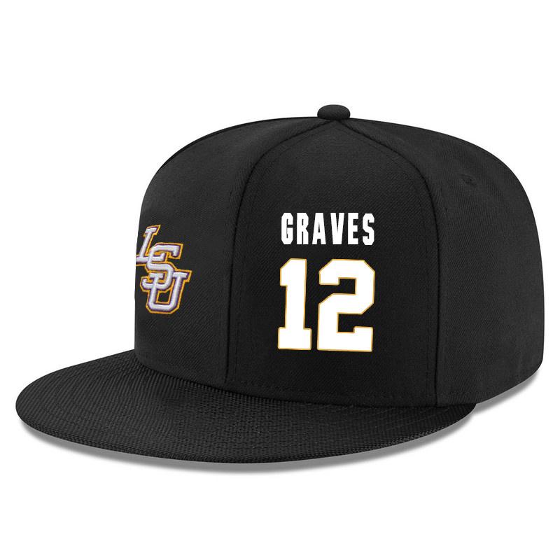 LSU Tigers 12 Marshall Graves Black Adjustable Hat