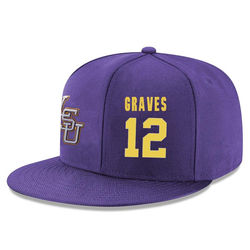 LSU Tigers 12 Marshall Graves Purple Adjustable Hat