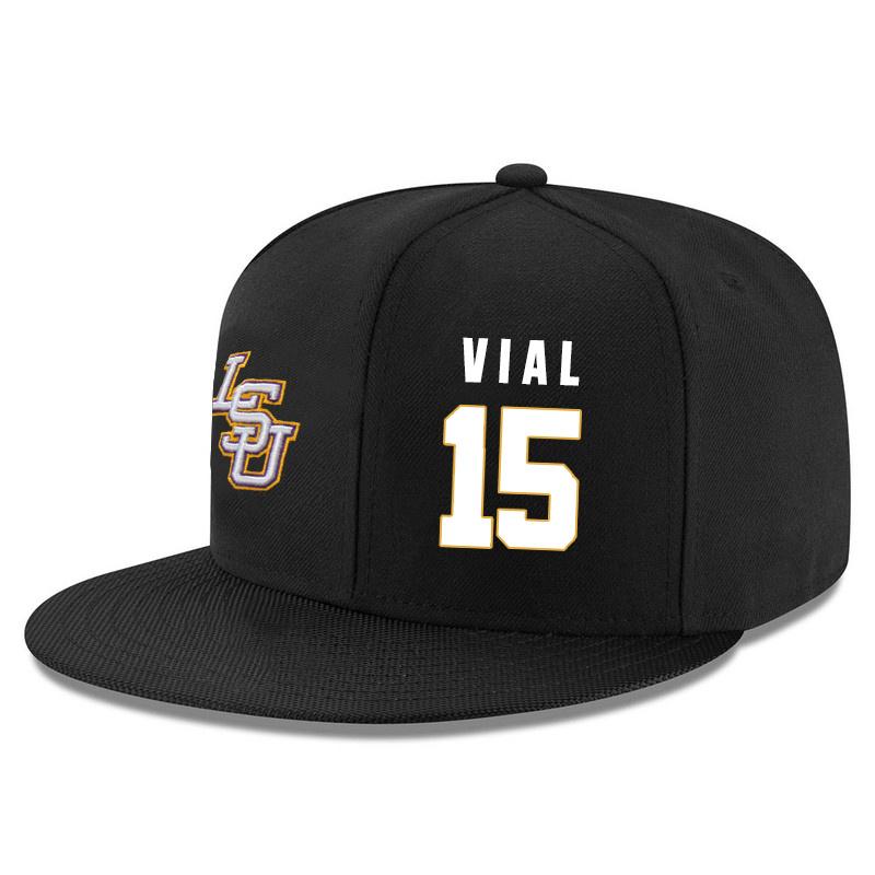 LSU Tigers 15 Reed Vial Black Adjustable Hat