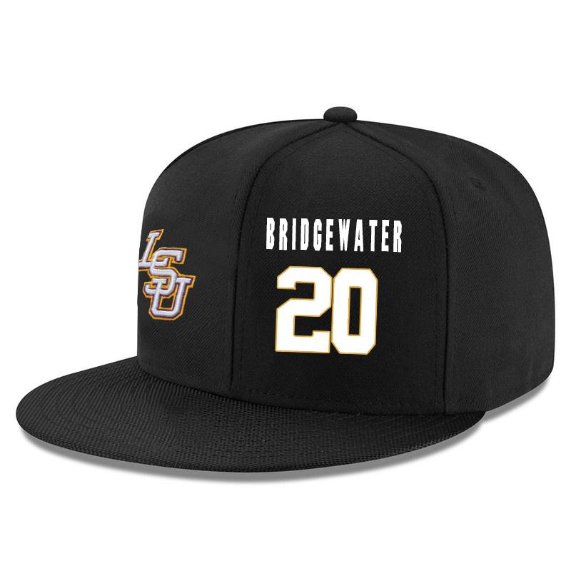 LSU Tigers 20 Brian Bridgewater Black Adjustable Hat