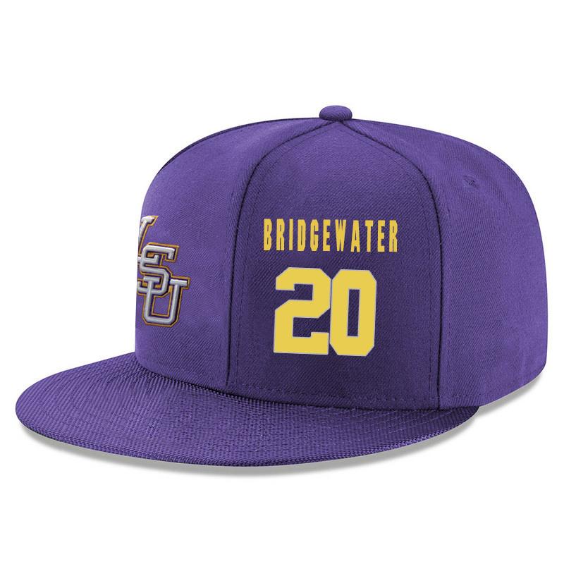 LSU Tigers 20 Brian Bridgewater Purple Adjustable Hat