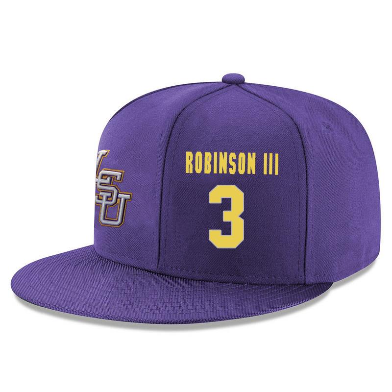 LSU Tigers 3 Elbert Robinson III Purple Adjustable Hat