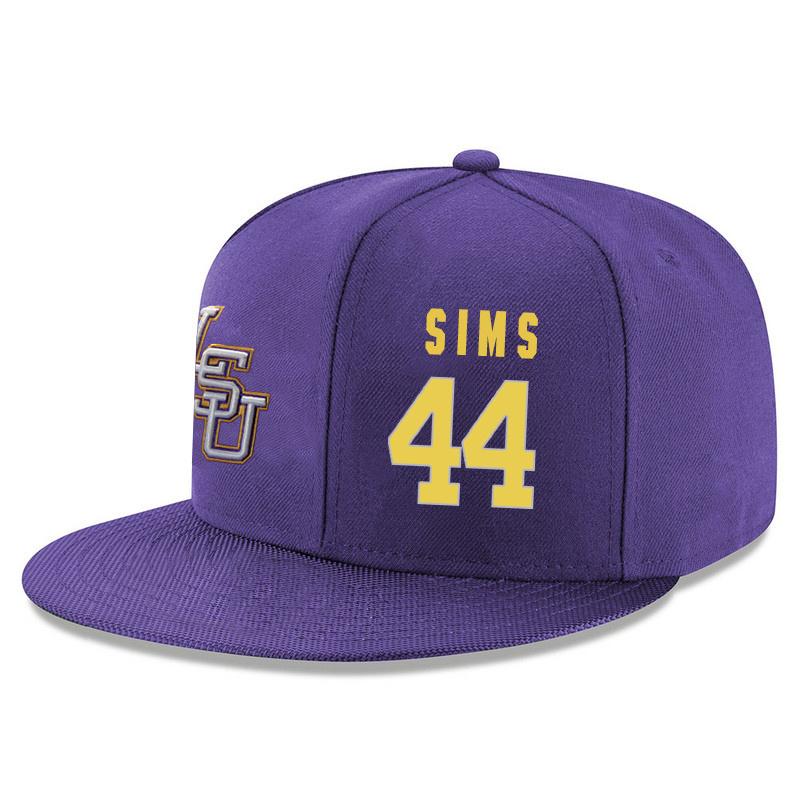 LSU Tigers 44 Wayde Sims Purple Adjustable Hat