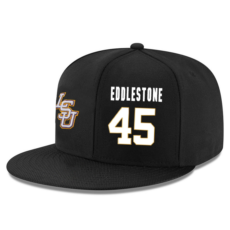 LSU Tigers 45 Brandon Eddlestone Black Adjustable Hat