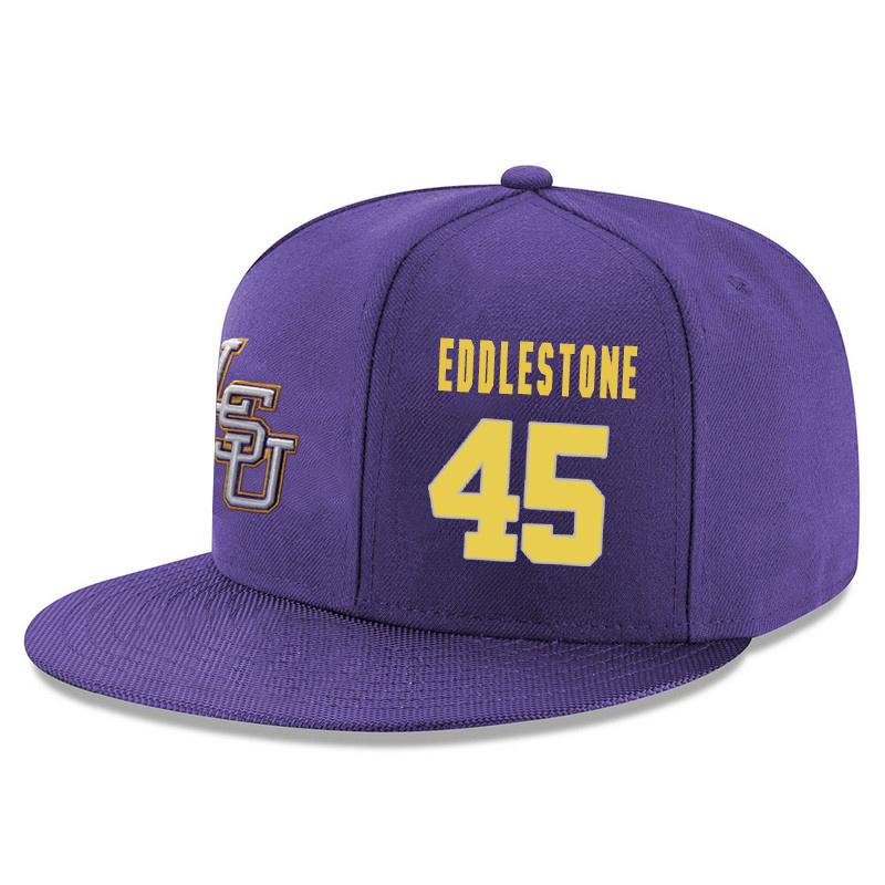 LSU Tigers 45 Brandon Eddlestone Purple Adjustable Hat