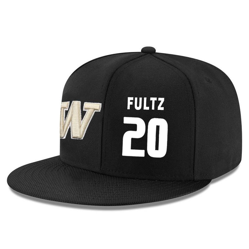 Washington Huskies 20 Markelle Fultz Black Adjustable Hat