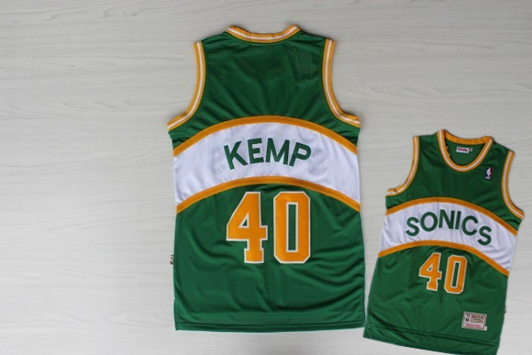 Supersonics 40 Kemp Green Hardwood Classics Jerseys