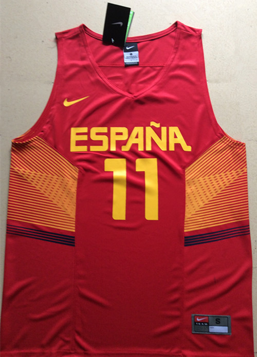 Spain 11 Ricky Rubio Red 2014 FIBA Jerseys