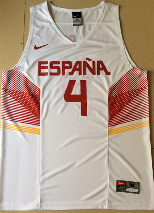 Spain 4 Pau Gasol White 2014 FIBA Jerseys