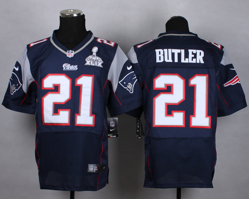 Nike Patriots 21 Butler Blue 2015 Super Bowl XLIX Elite Jerseys