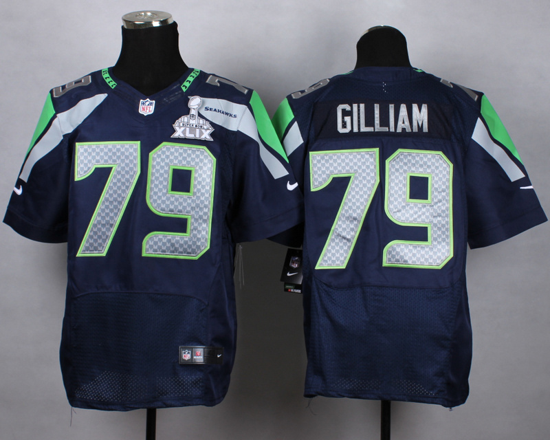 Nike Seahawks 79 Gilliam Blue 2015 Super Bowl XLIX Elite Jerseys