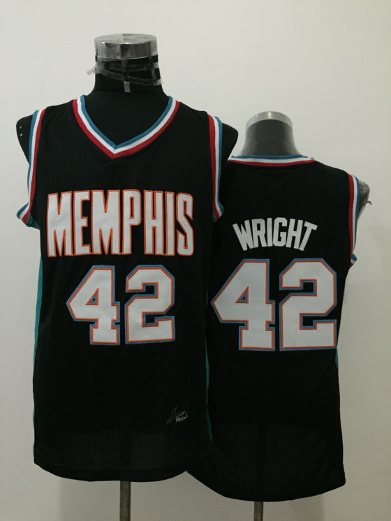 Grizzlies 42 Lorenzen Wright Black Throwback Jersey