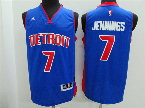 Pistons 7 Brandon Jennings Blue New Revolution 30 Jersey