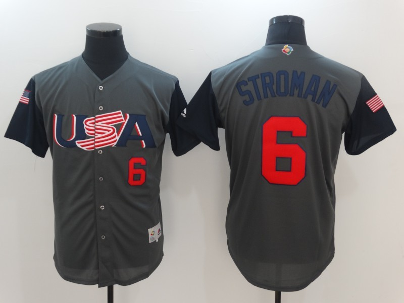 Men's USA Baseball 6 Marcus Stroman Gray 2017 World Baseball Classic Jersey