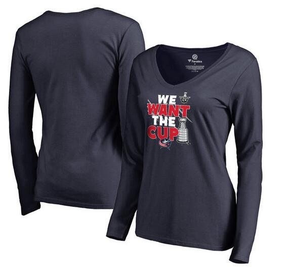 Columbus Blue Jackets Fanatics Branded Women's 2017 NHL Stanley Cup Playoff Participant Blue Line V Neck Long Sleeve T Shirt Navy