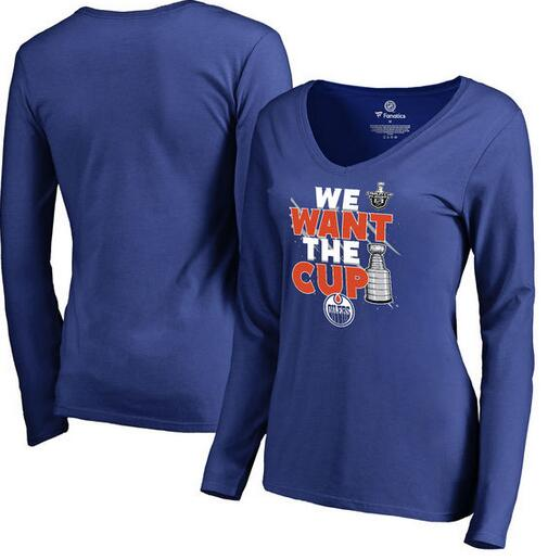 Edmonton Oilers Fanatics Branded Women's 2017 NHL Stanley Cup Playoff Participant Blue Line V Neck Long Sleeve T Shirt Royal