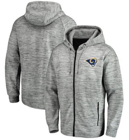 Los Angeles Rams Pro Line by Fanatics Branded Space Dye Performance Full Zip Hoodie Heathered Gray