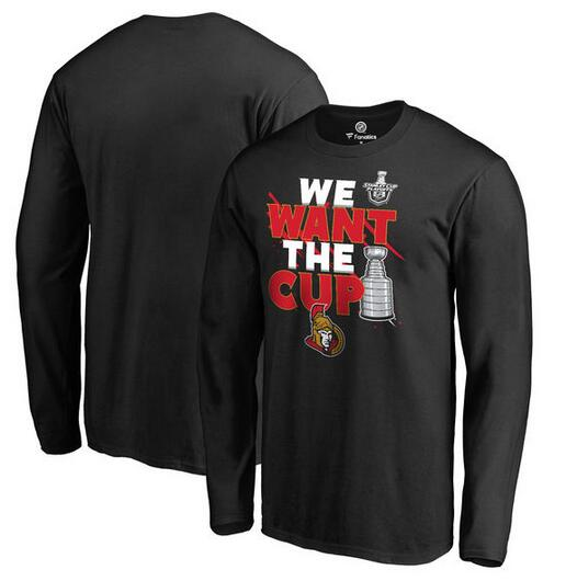Ottawa Senators Fanatics Branded 2017 NHL Stanley Cup Playoffs Participant Blue Line Long Sleeve T Shirt Black