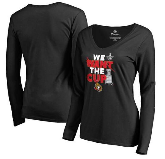 Ottawa Senators Fanatics Branded Women's 2017 NHL Stanley Cup Playoffs Participant Blue Line Long Sleeve V Neck T Shirt Black